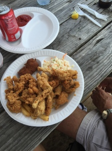 Sampler Plate at Lone Cabbage Fish Camp includes gator, frog legs and catfish. #nomnom